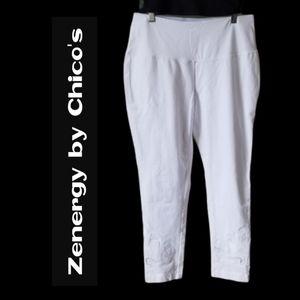 Zenergy White Embroidered Leggings - Size 1 USA L